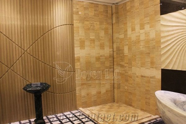 Yellow Sandstone Bathroom Shower Tubs Walling Designs With Tiles - Bath shower wall covering