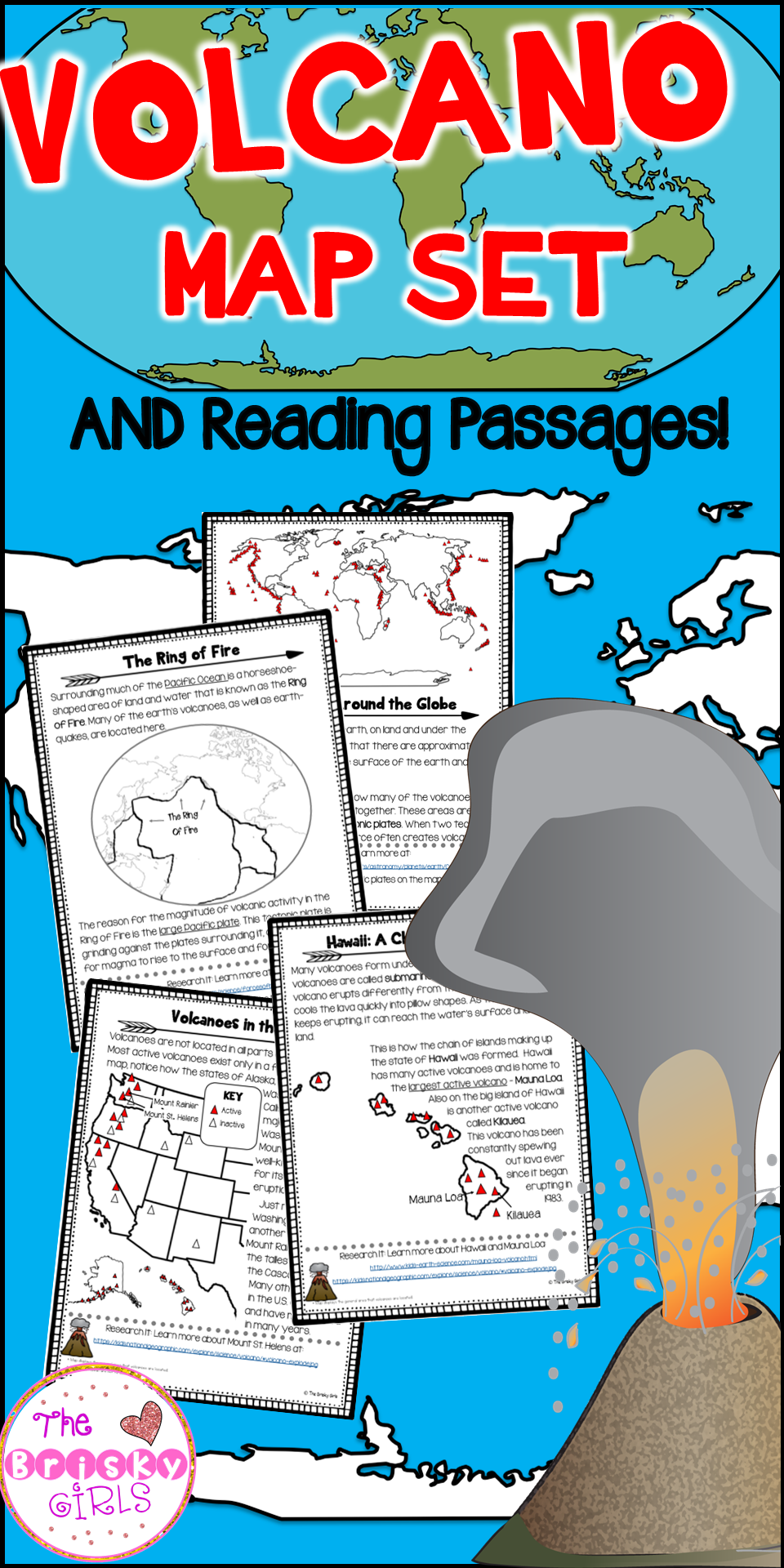 worksheet Volcanoes Reading Comprehension Worksheet volcano map set and reading passages classroom resources passages