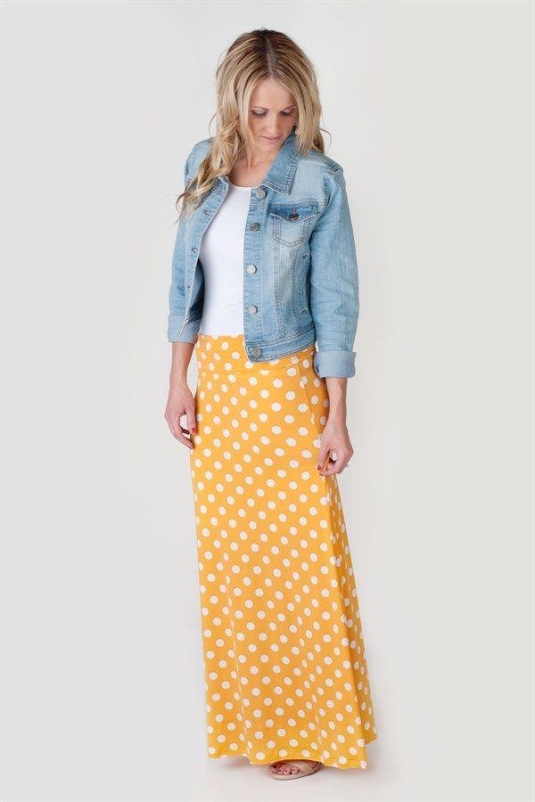 f3d8bb9ed03bf Polka Dot Maxi Skirts | 4 Colors | Fashion | Fashion, Fashion ...