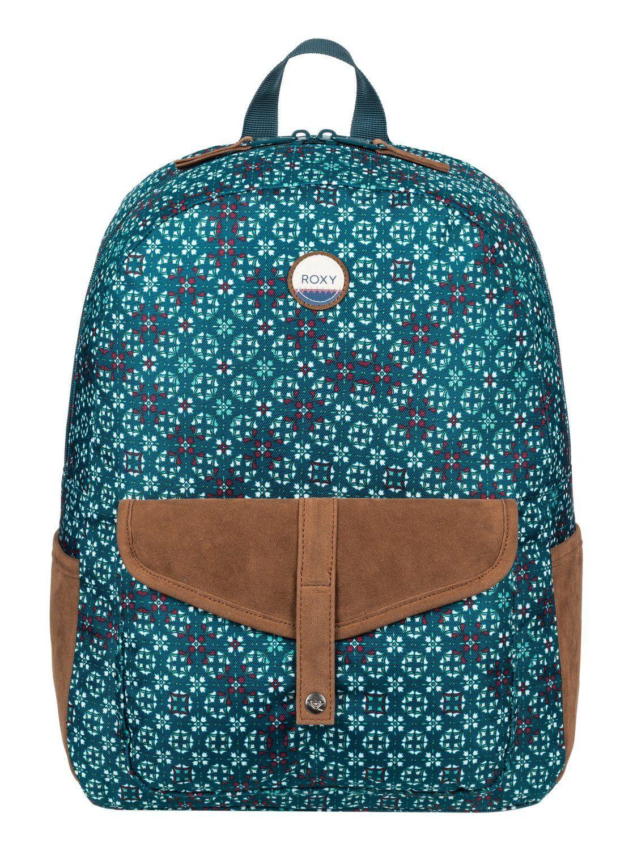 8bcad3e7b64 Roxy Women's Carribean Backpack, Reflective Pond Liberia ERJBP03537.  All-over printed design.