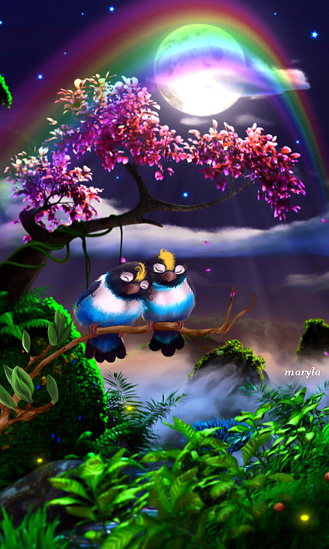 Descargar Love Birds 480 X 800 Wallpapers Love Bird Birds Nature Night Fantasy Mobile9 Trippy Wallpaper Cellphone Wallpaper Cute Wallpaper Backgrounds