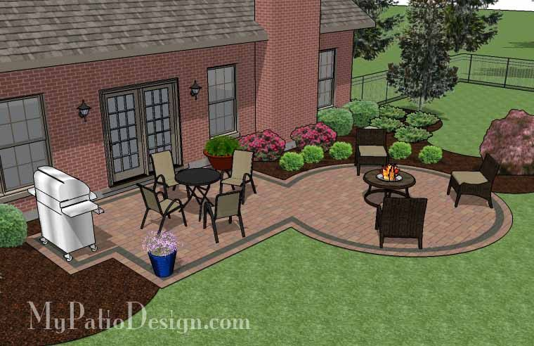 395 sq. ft. - Rectangle Patio Design with Circle Fire Pit ... on Rectangular Patio Design id=27441