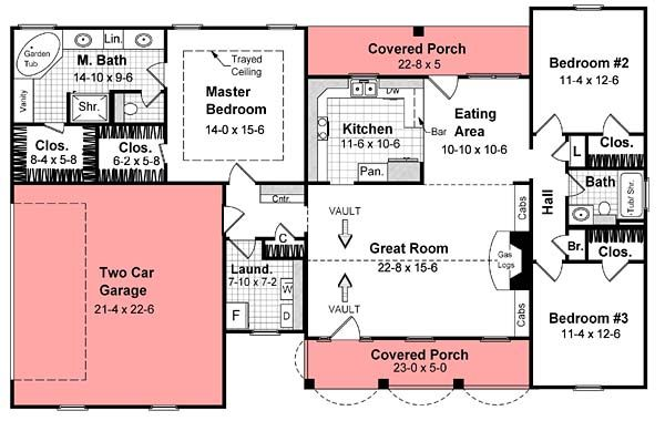 Traditional Style House Plan 59066 With 3 Bed 2 Bath 2 Car Garage New House Plans House Plan Gallery House Plans