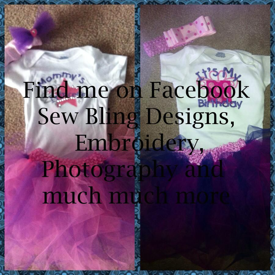 Find me on Facebook Sew Bling Designs, Embroidery