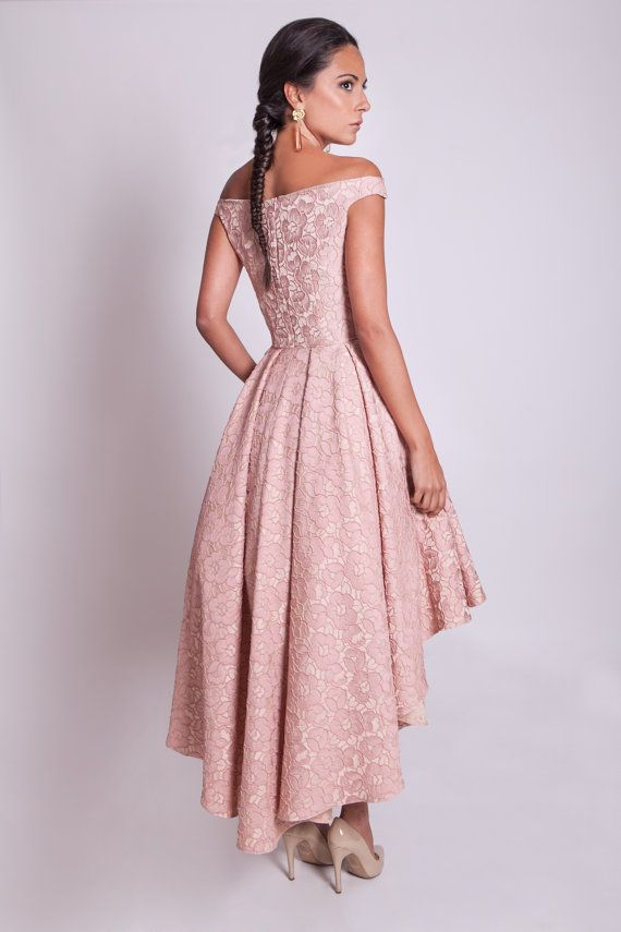 6fc8e44096b8 High low prom dress, off shoulder bridesmaid dress, 50s style pink ...