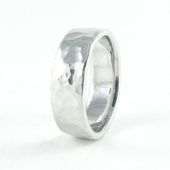 Hammered Aluminum Ring Men S Wedding Band 10 Year Anniversary