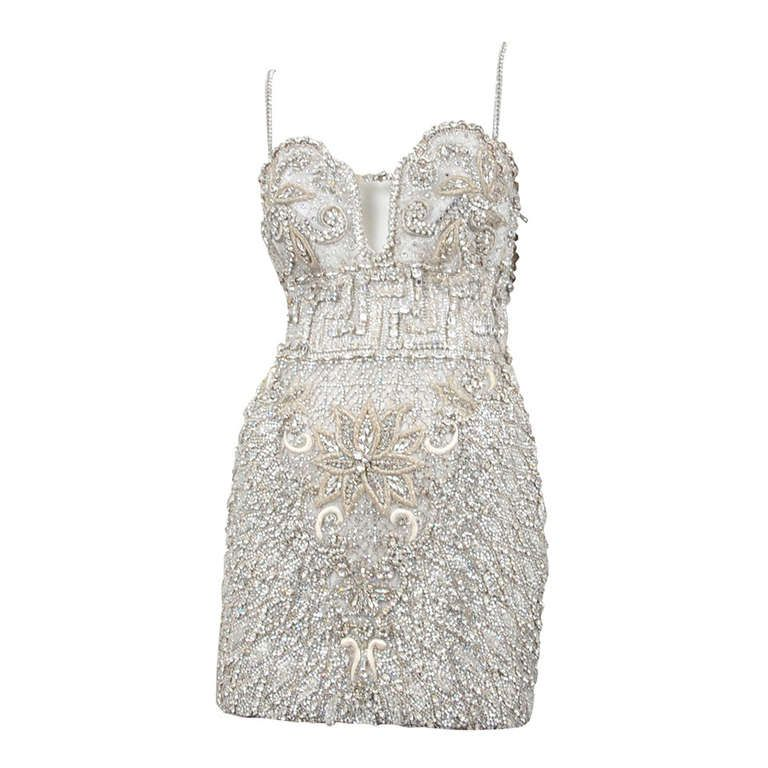 5e0a66edde Versace Crystal Encrusted Couture Cocktail Dress | From a collection of  rare vintage evening dresses