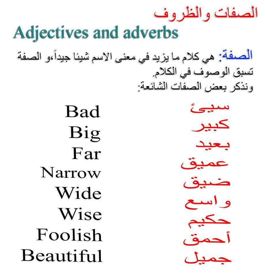 الصفات والظروف Learn English Words Wise