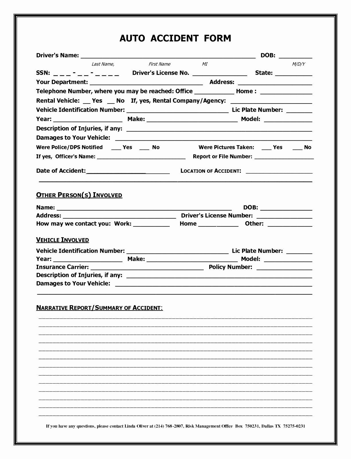 008 Auto Accident Report Form California Automobile Template For