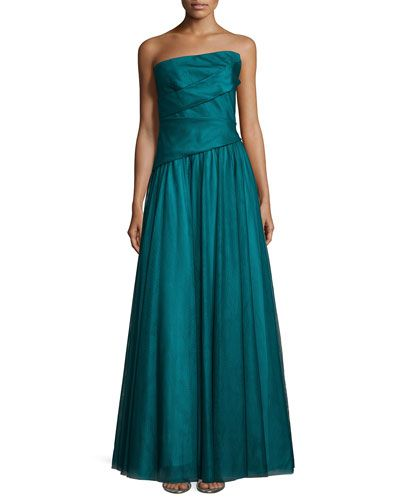 f8a3bab7ce73 MONIQUE LHUILLIER ASYMMETRIC STRAPLESS FULL-SKIRT GOWN