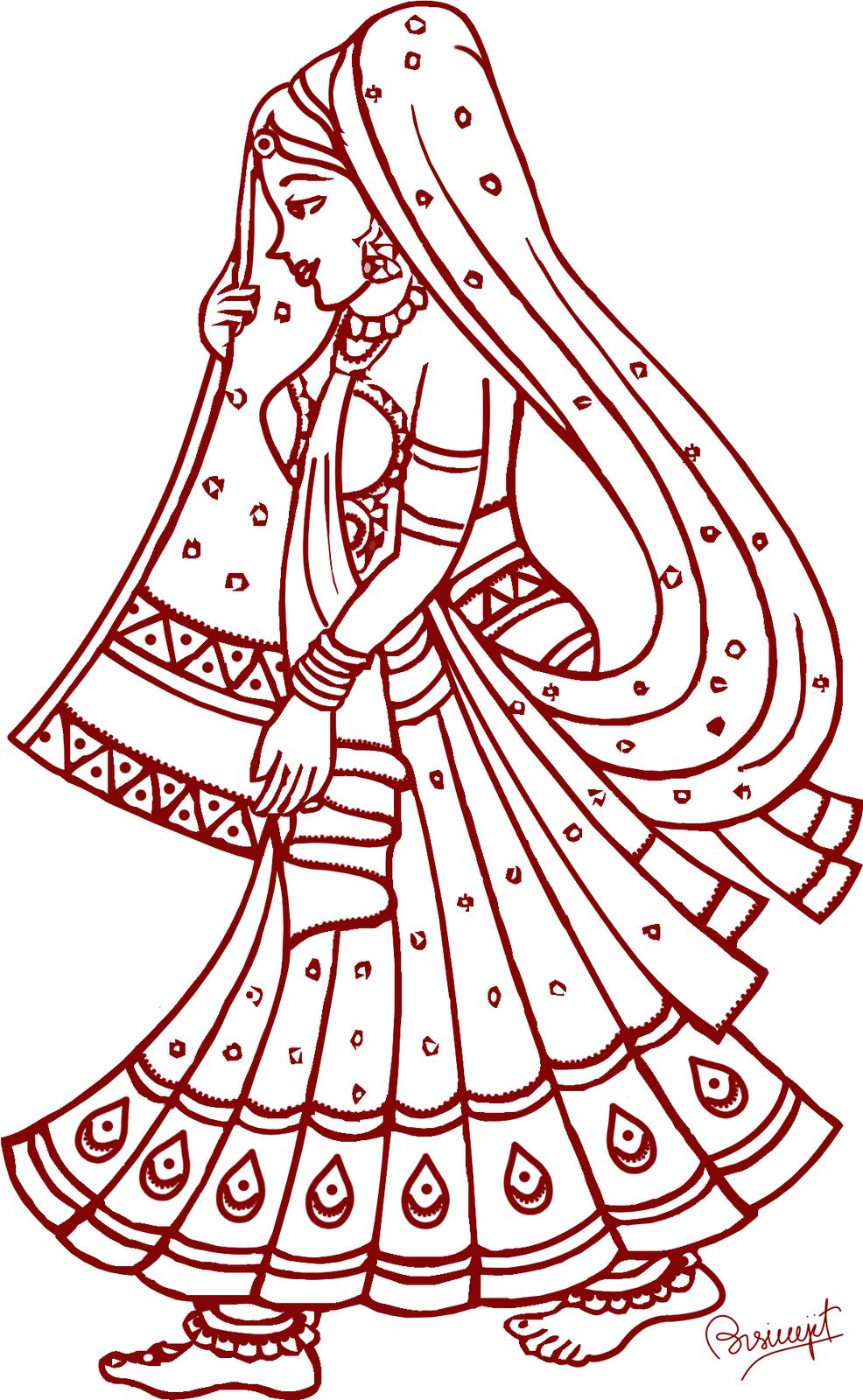 Line Art Wedding : Indian bride rukhwat inspirations