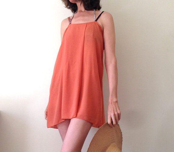 Orange Mini Dress Chiffon Beach Dress Spaghetti by AntAtHome