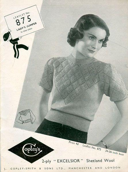 FREE UK P/&P Vintage 1940s Knitting Pattern Lady/'s Lacy Bolero Lovely Openwork!