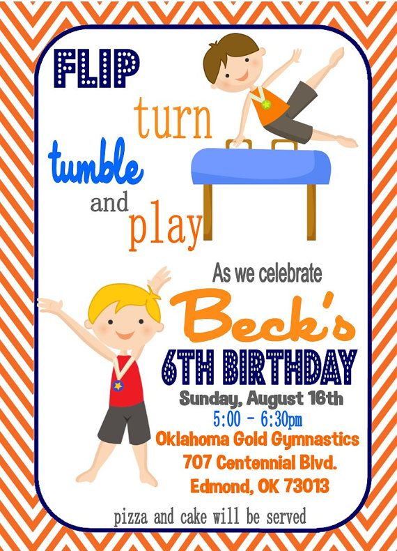 Personalized Boy Orange and Blue Gymnastics Birthday Invitation