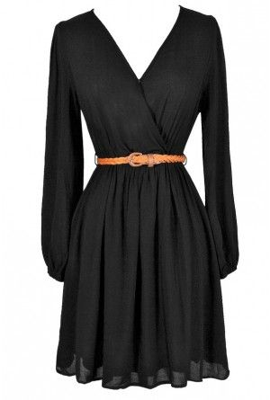 42c81d2441 Ready For Anything Belted Surplice Dress in Black