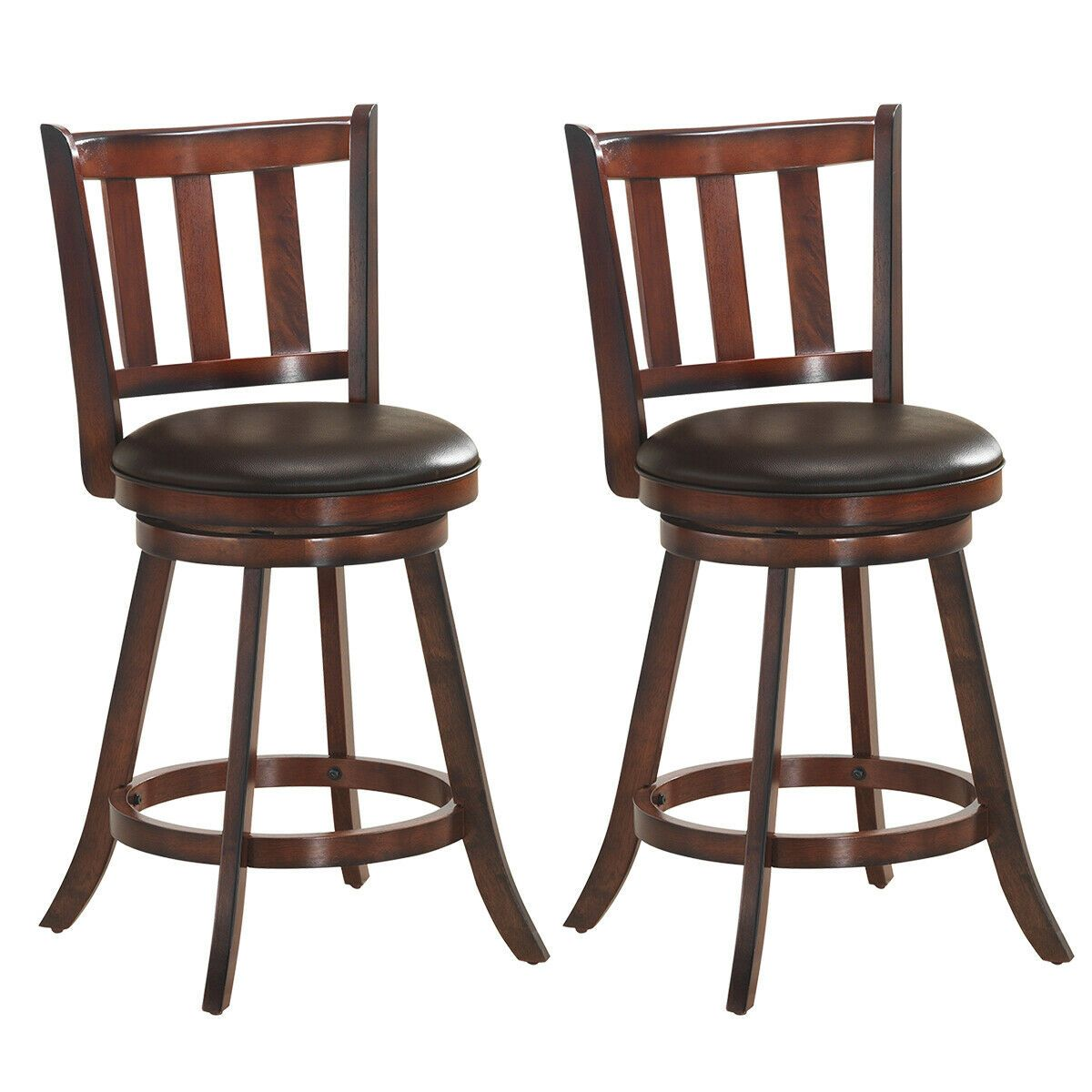 Set Of 2 25 Swivel Bar Stools Leather Padded Solid Counter Height