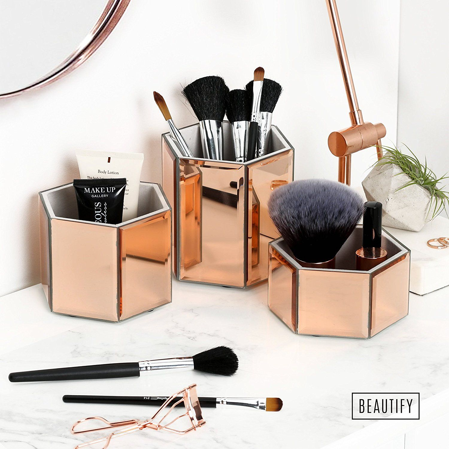 Beautify Mirrored Rose Gold Glass Hexagon Storage Pots for