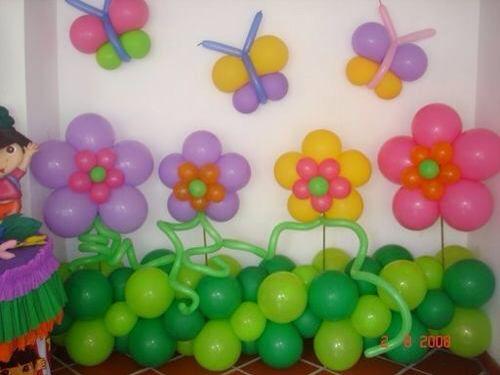Decoración de globos flores y mariposas Decoraciones de globos