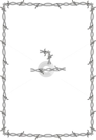 Simple Barbed Wire Drawing barb wire borders | barbed wire border stock vector clipart