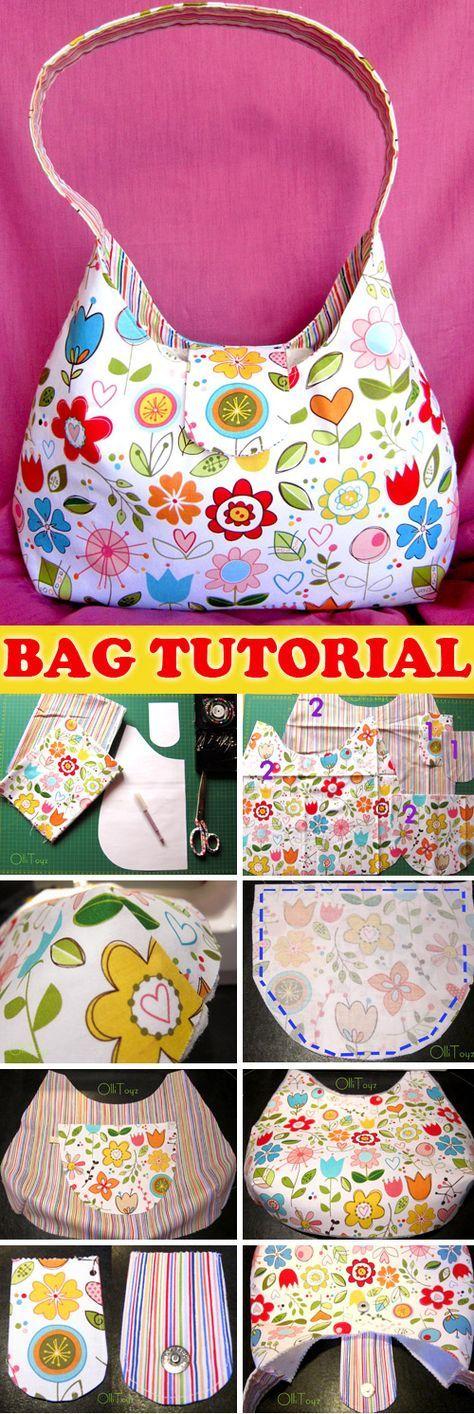 One Handle Bag Sew Tutorial & Pattern http://www.free-tutorial.net ...