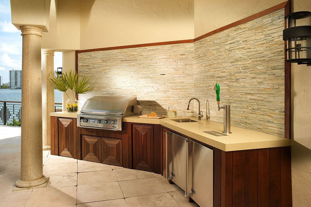 Natural Stone Tiled Patio Outdoor Kitchen Cabinets Outdoor Kitchen Appliances Outdoor Kitchen