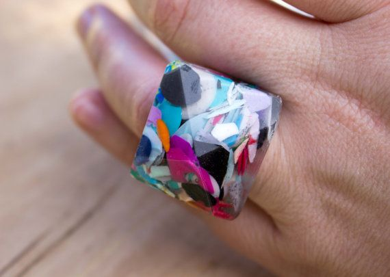 Confetti Polymer Clay Clear Resin Geometric Ring - Limited Edition by ButtonUpDesigns on Etsy