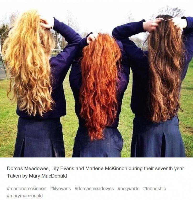 Dorcas Meadowes Lily Evans And Marlene Mckinnon Brunette Aesthetic Brunette To Blonde Blonde And Brunette Best Friends