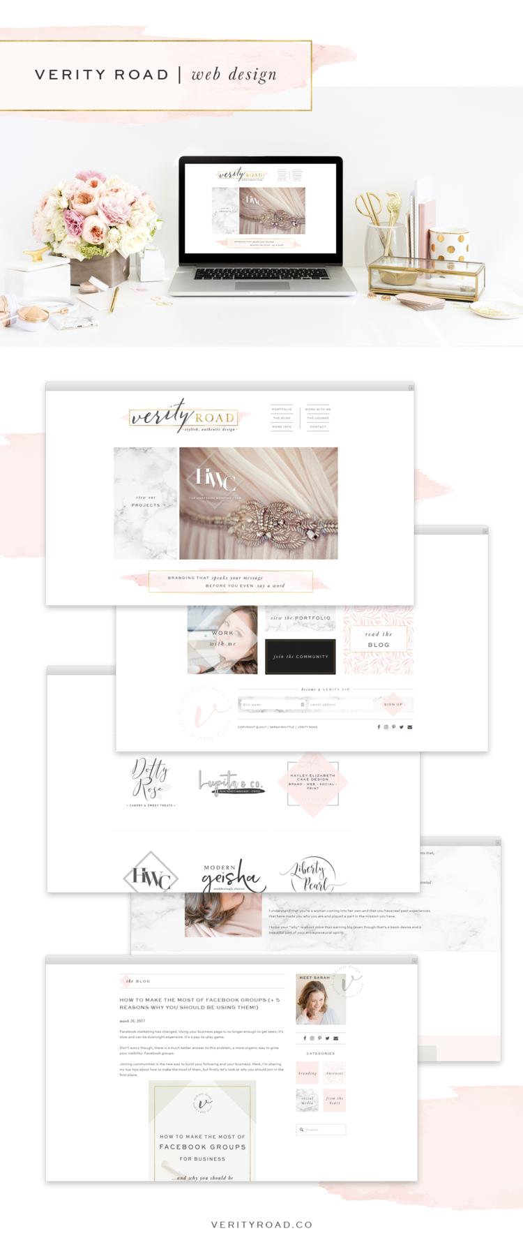 Brand Web Design Verity Road Luxury Branding For Female Entrepreneurs Web Design Simple Website Design Web Design Inspiration
