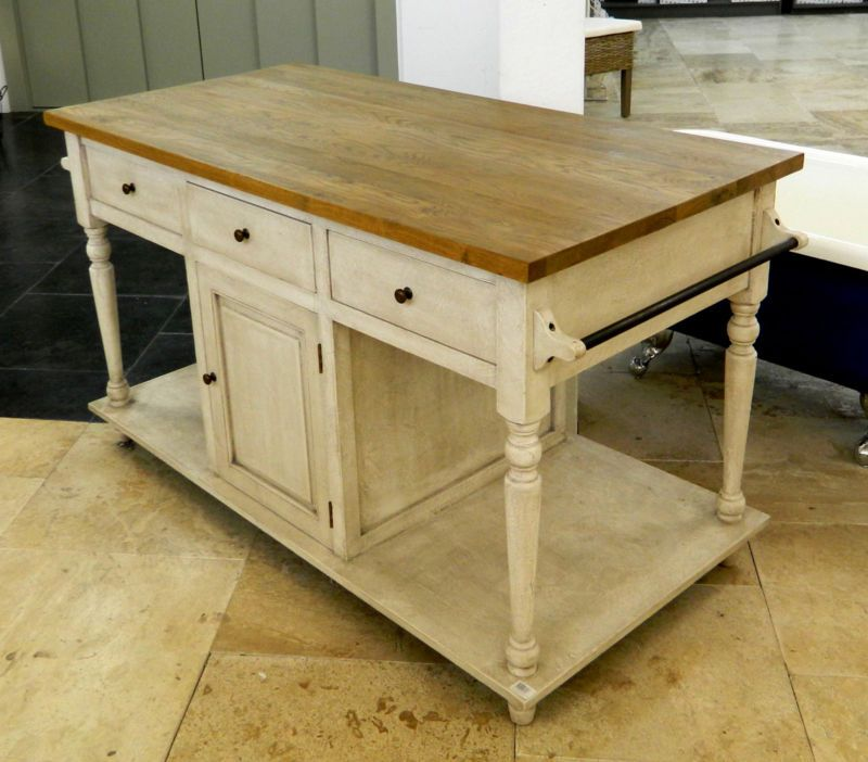Iowa Birch And Weathered Oak Antique White Kitchen Island Console Side Table