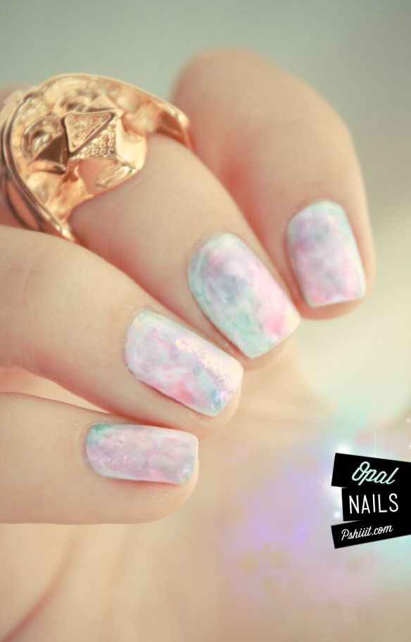 Tuto vidéo nail art // Aquarelle pastel & pierres précieuses | Opal ...