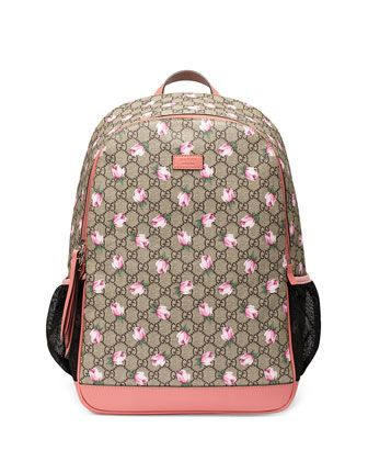 3dfdc175ae40 Classic+GG+Supreme+Rose+Backpack+Diaper+Bag,+Beige+by+Gucci +at+Neiman+Marcus.