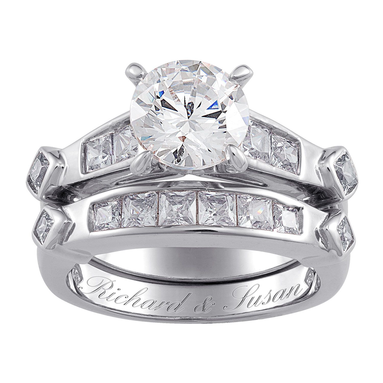 Personalize this brilliant Sterling Silver 2Piece wedding