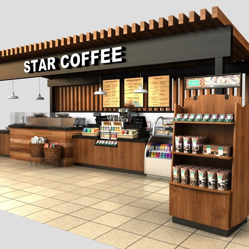 3d model coffee kiosk Coffee bar design, Kiosk design