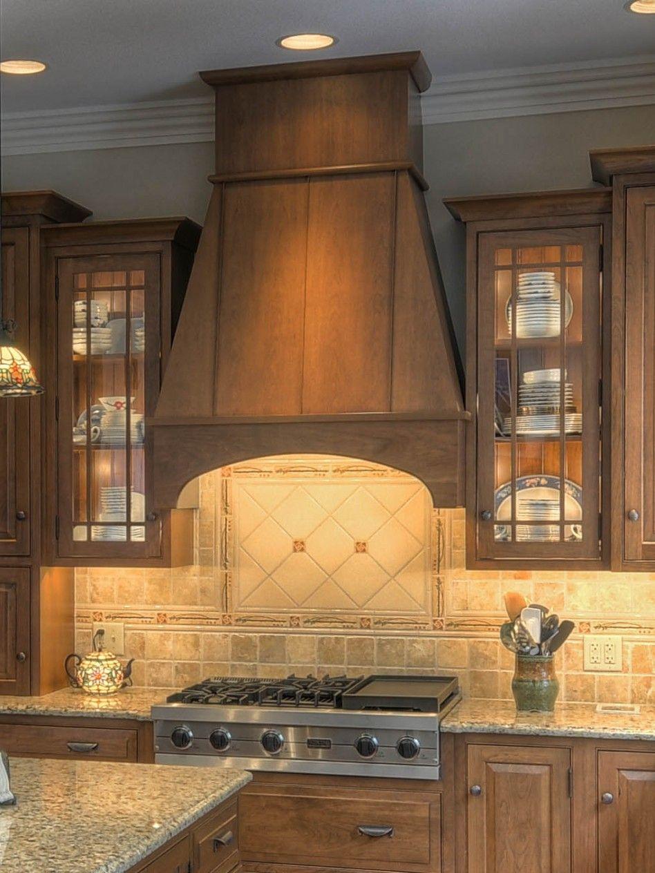Wood Vent Hood | Kitchen, : Stunning Kitchen Design Ideas With Mahogany  Kitchen Cabinet .