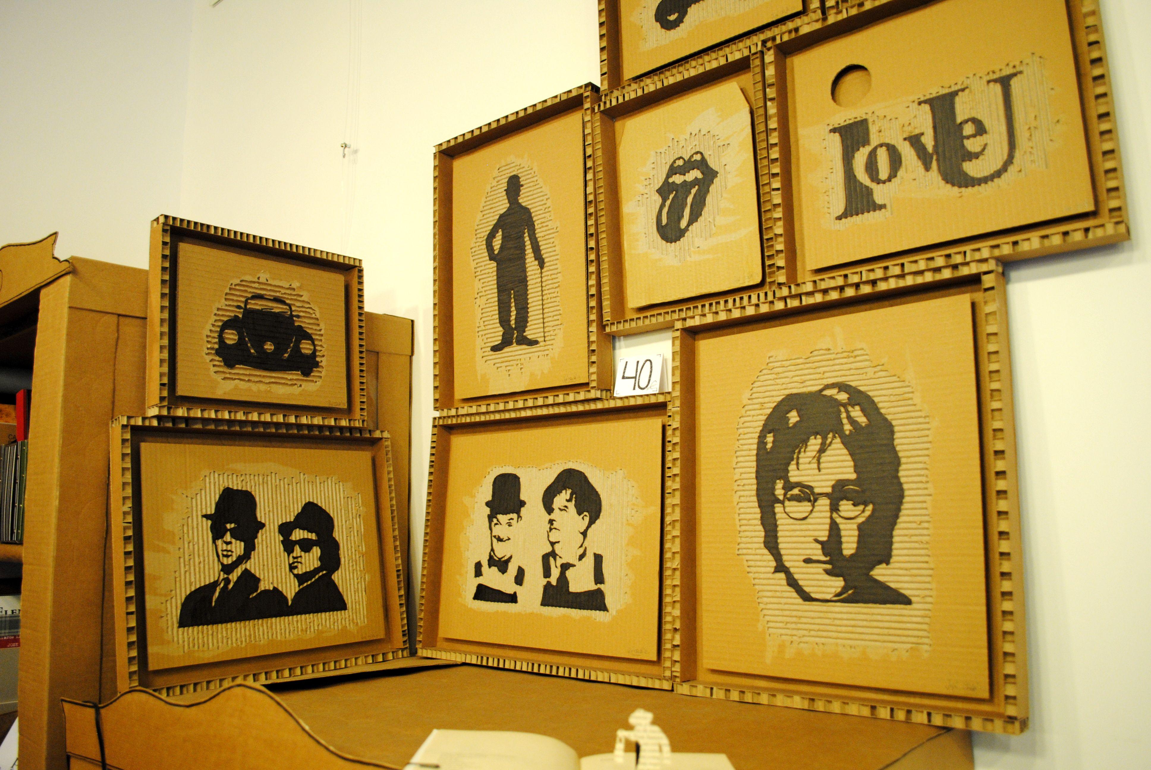 Imágenes sacadas vaciando el cartón corrugado y pintadas después ...