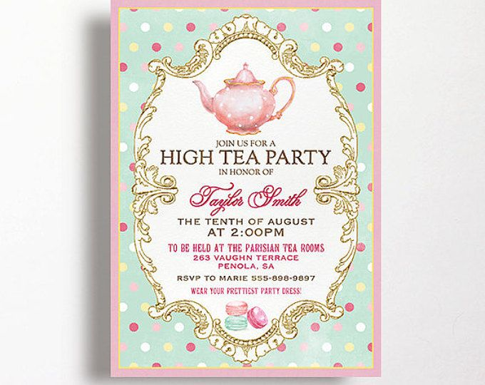 High Tea Invitation For Kitchen Tea Tea Party Bridal Shower Tea - invitation templates for farewell party