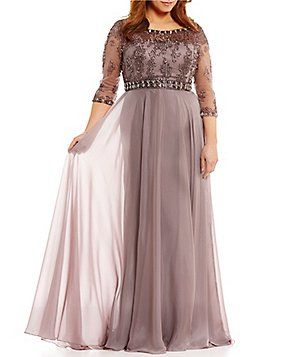 e5d750ba3be Terani Couture Plus Illusion Beaded-Bodice 3 4 Sleeve Gown