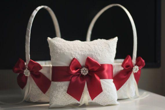 Two flower girl baskets one red ring bearer pillow ivory marsala two flower girl baskets one red ring bearer pillow ivory marsala bearer red mightylinksfo