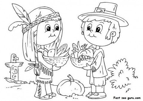 Printable Thanksgiving Native And Pilgrim Coloring Page