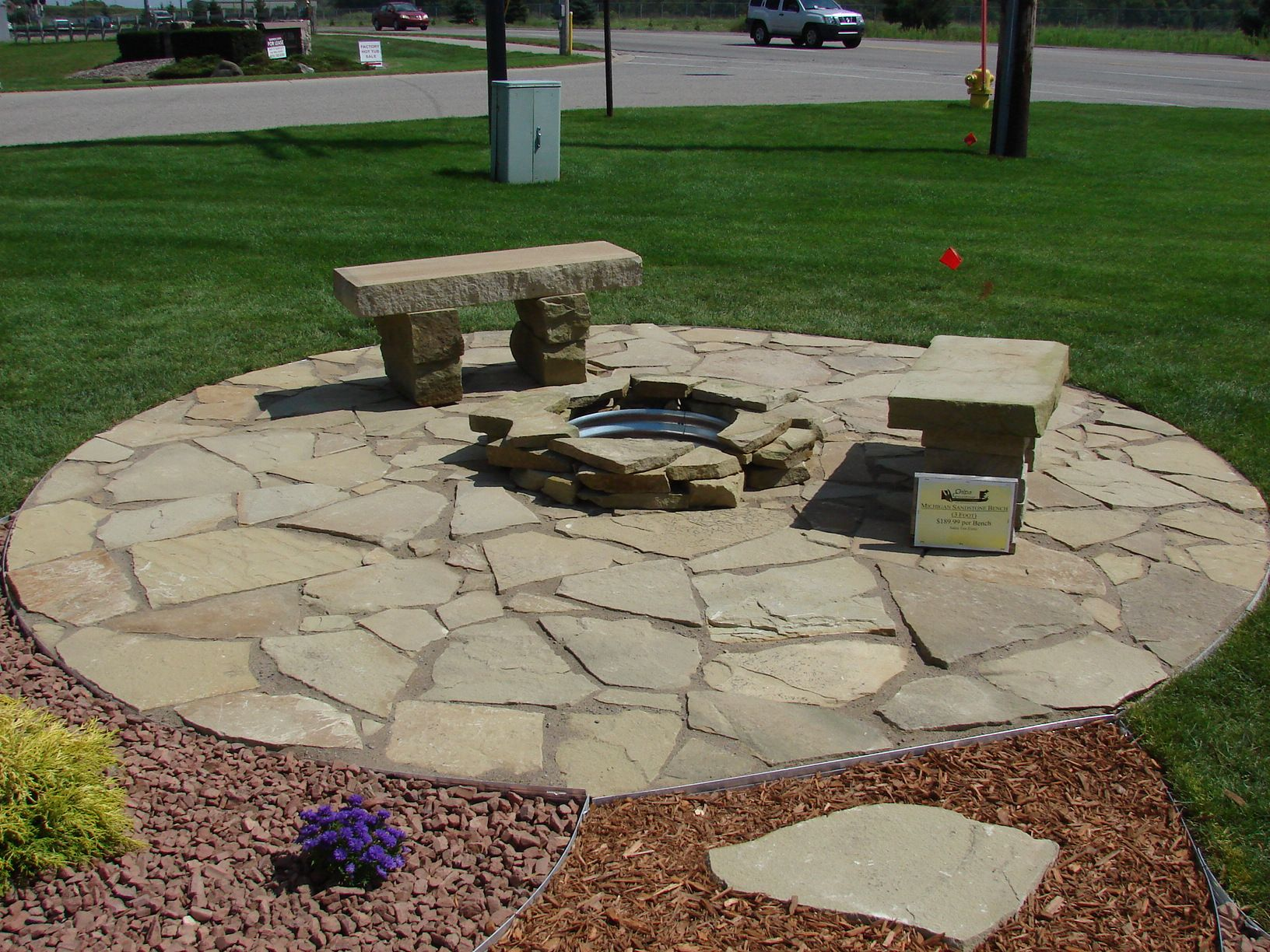Slate Rock Patio | Sandstone Patio, Firepit And Benches