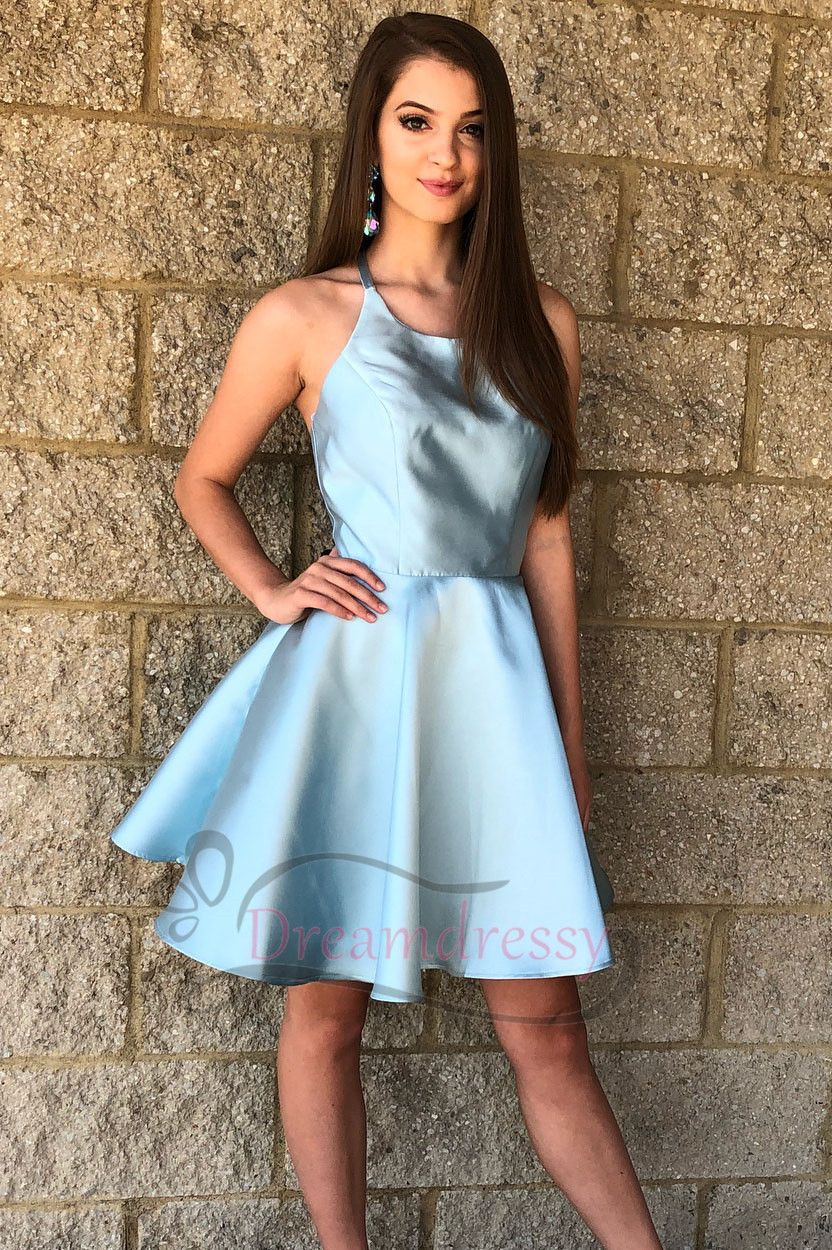 Princess halter short light sky blue homecoming dress k fashion