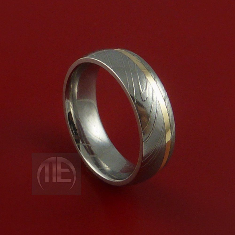 Damascus Steel 14K Yellow Gold Ring Wedding Band Any size 322
