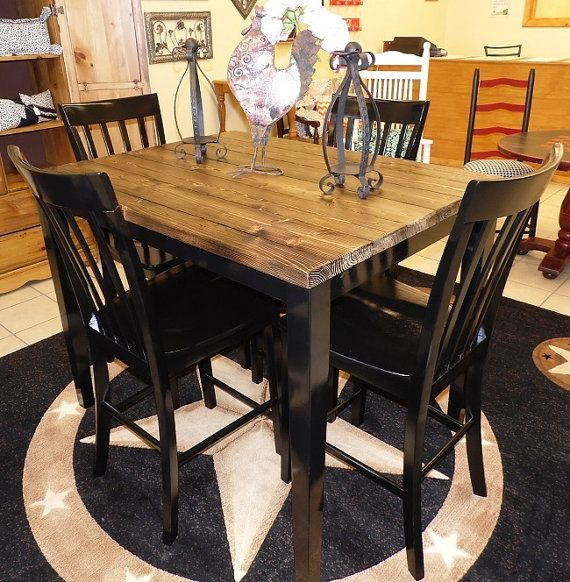 Farm House Pub Table With Four Chairs Repurposed Table Set Rustic