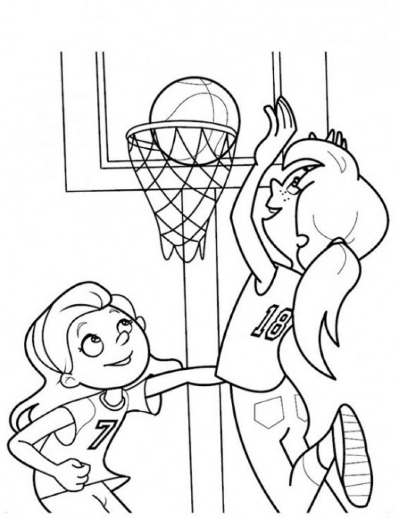Girls Playing Basketball Coloring