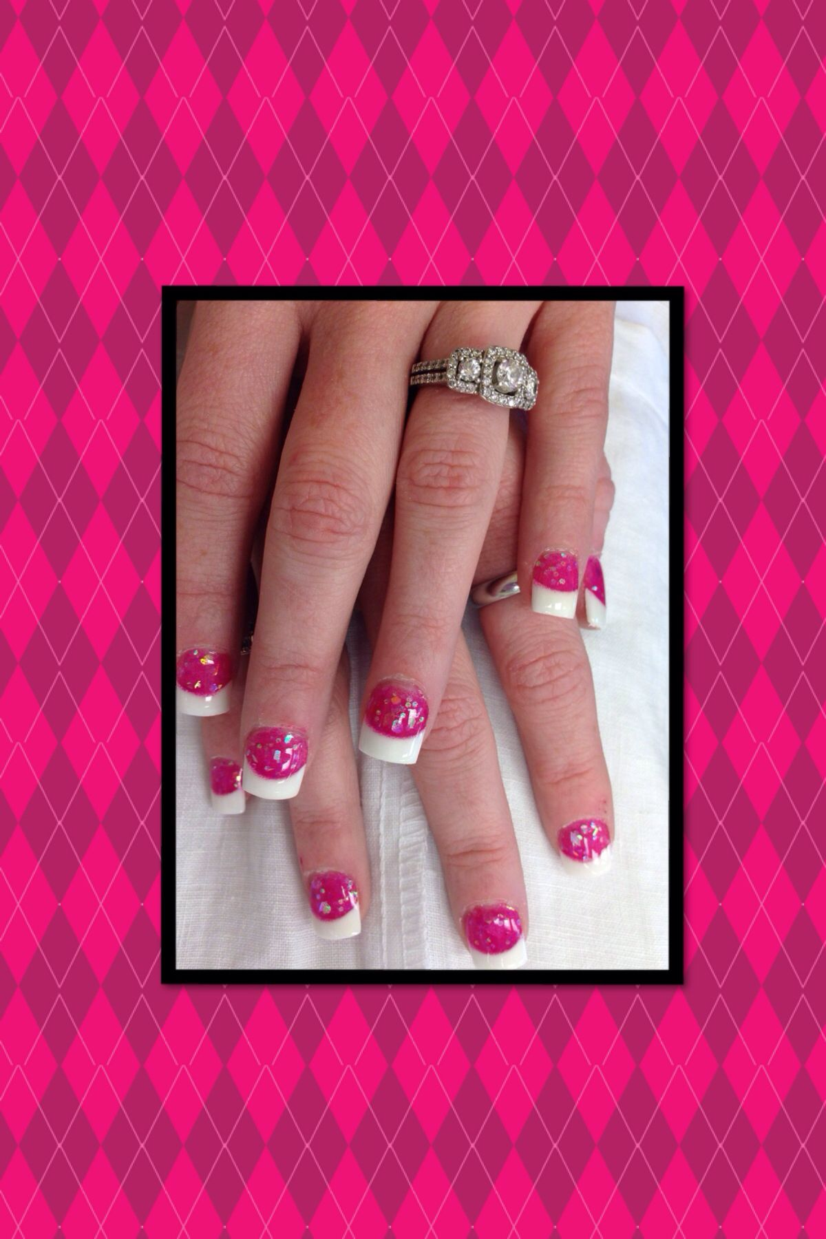 Solar Nails. French tips with pink glitter acrylic. I LOVE THEM ...