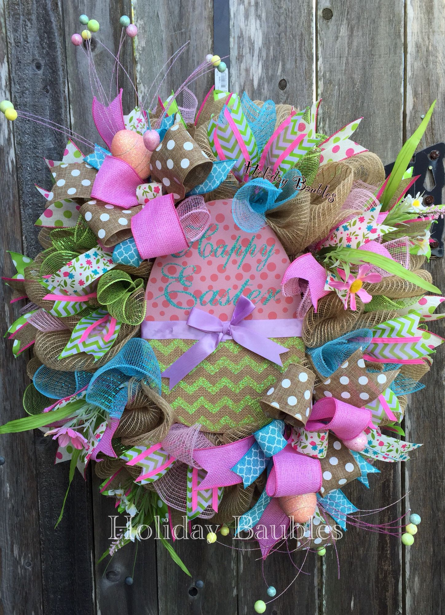 Happy Easter Wreath By Holiday Baubles Easter Crafts