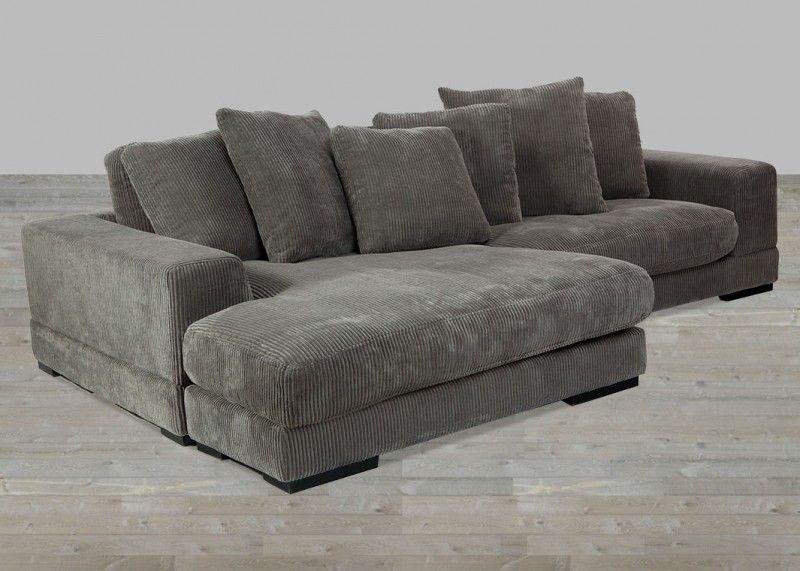 Corduroy Fabric Charcoal Sectional