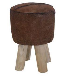 Handmade: Taburet, teak/cow skin