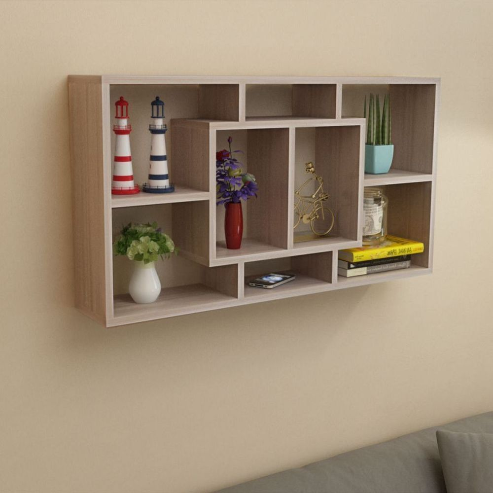 Wall Mounted Display Unit Floating Shelves Modern Bookshelf Decor