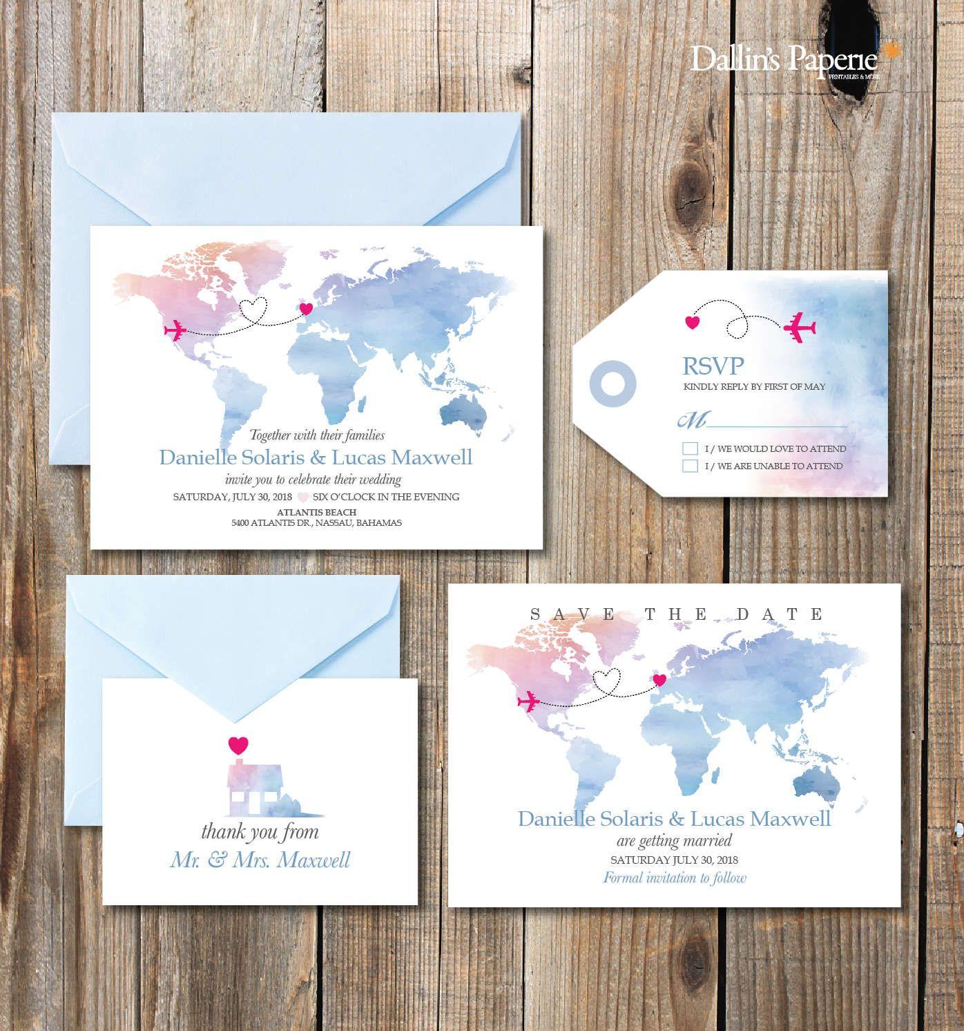 Imprimibles de invitación de la boda de destino boda playa, invitación de mapa, boda DIY modificado para requisitos particulares, invitación de la boda acuarela
